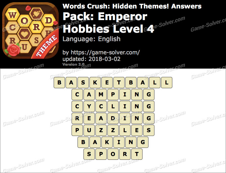 Words Crush Emperor-Hobbies Level 4 Answers