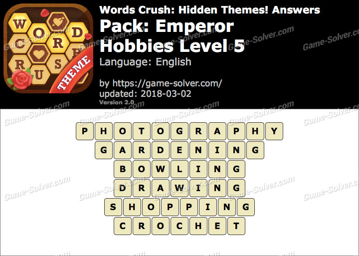 Words Crush Emperor-Hobbies Level 5 Answers
