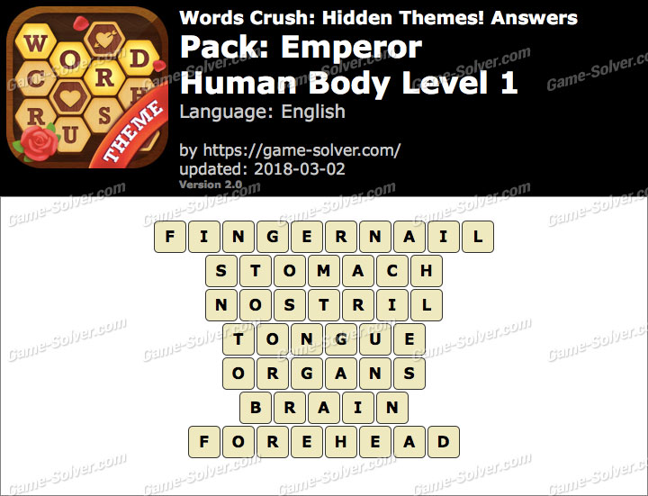 Words Crush Emperor-Human Body Level 1 Answers