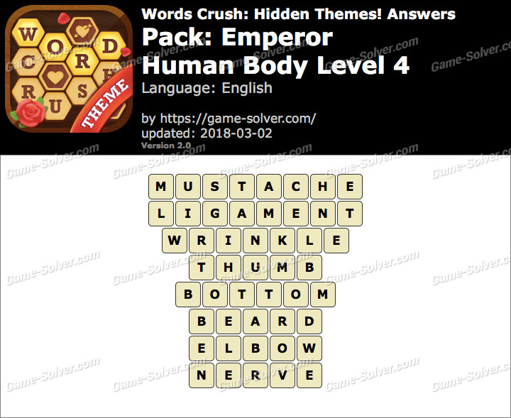Words Crush Emperor-Human Body Level 4 Answers