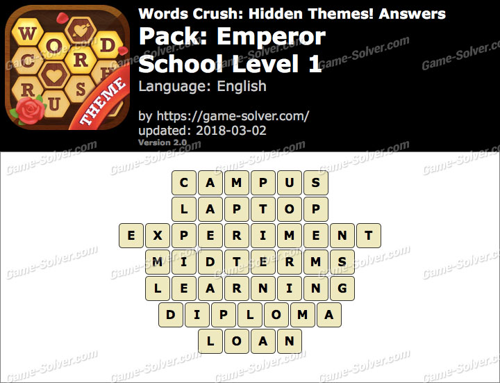 Words Crush Emperor-School Level 1 Answers