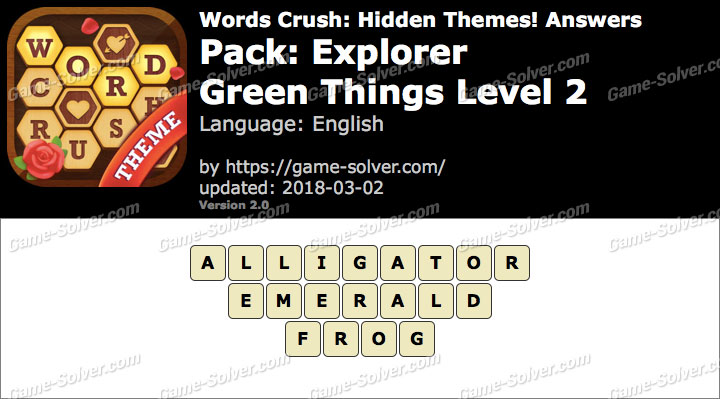 Words Crush Explorer-Green Things Level 2 Answers