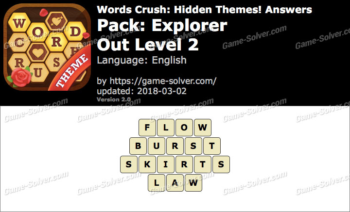 Words Crush Explorer-Out Level 2 Answers