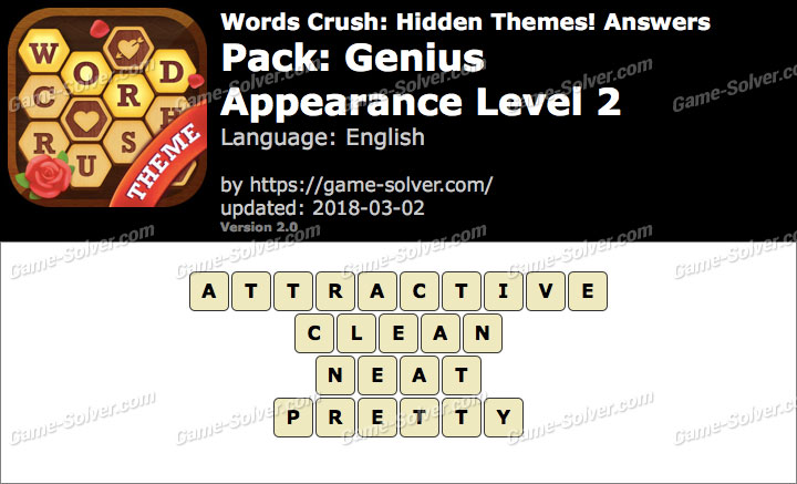 Words Crush Genius-Appearance Level 2 Answers