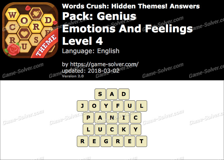 Words Crush Genius-Emotions And Feelings Level 4 Answers