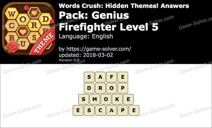 Words Crush Genius-Firefighter Level 5 Answers