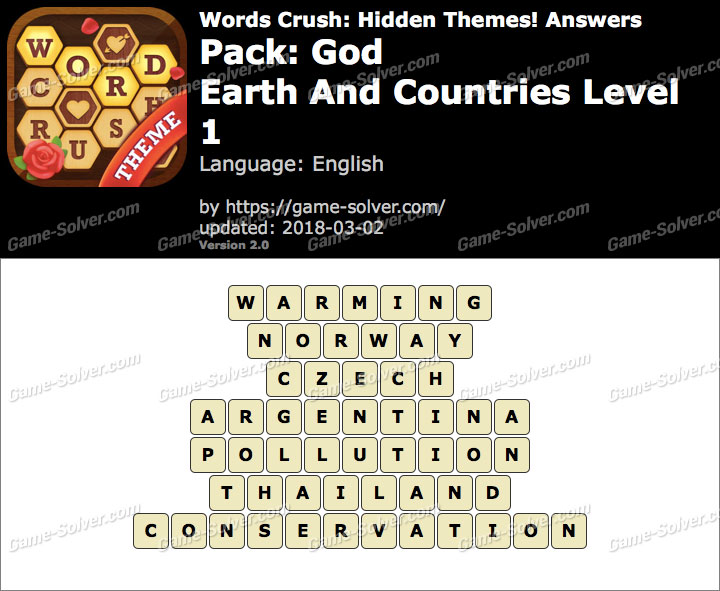 Words Crush God-Earth And Countries Level 1 Answers