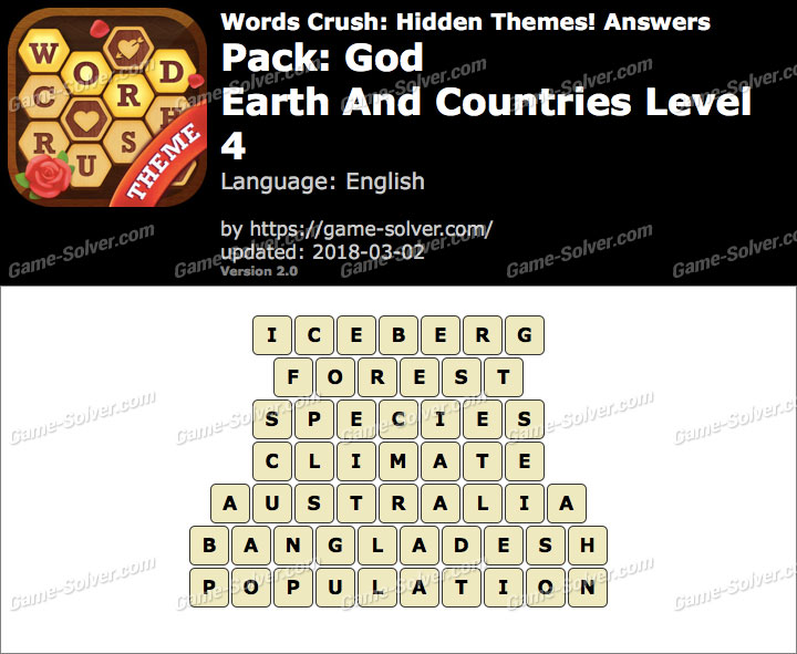 Words Crush God-Earth And Countries Level 4 Answers