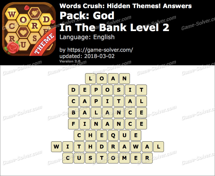 Words Crush God-In The Bank Level 2 Answers