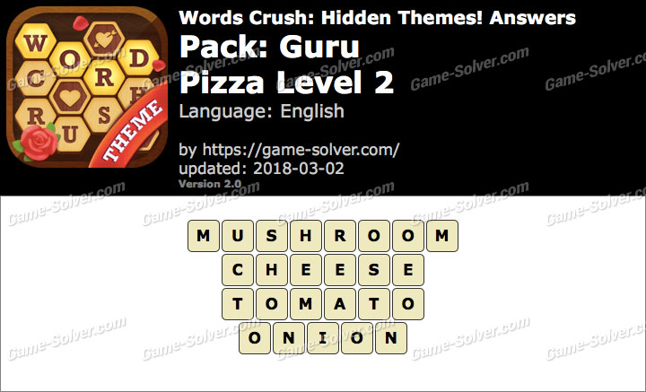 Words Crush Guru-Pizza Level 2 Answers
