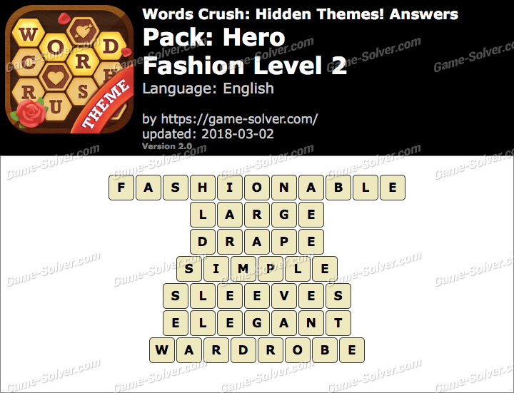Words Crush Hero-Fashion Level 2 Answers