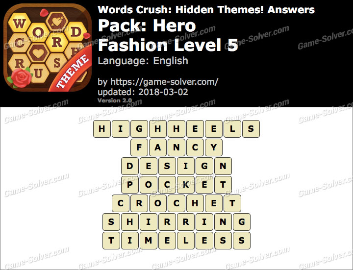 Words Crush Hero-Fashion Level 5 Answers