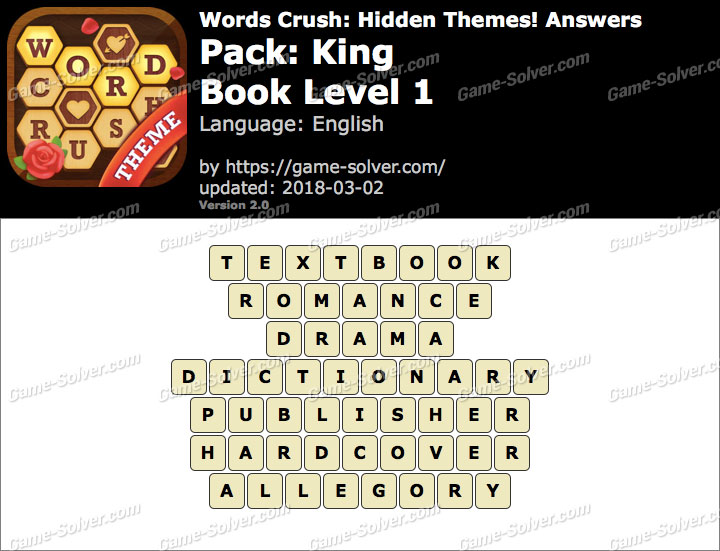 Words Crush King-Book Level 1 Answers