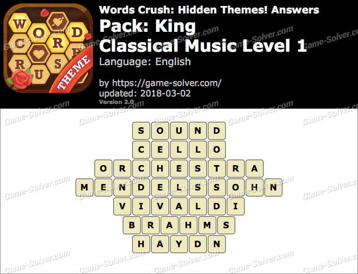 Words Crush King-Classical Music Level 1 Answers
