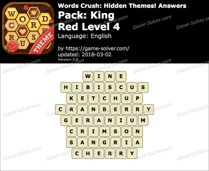 Words Crush King-Red Level 4 Answers