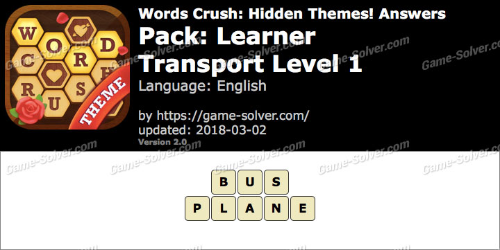 Words Crush Learner-Transport Level 1 Answers
