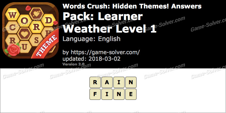 Words Crush Learner-Weather Level 1 Answers