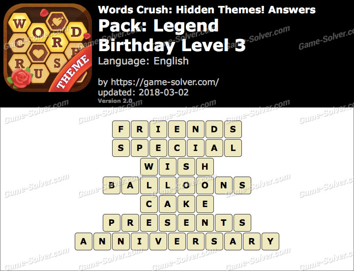 Words Crush Legend-Birthday Level 3 Answers