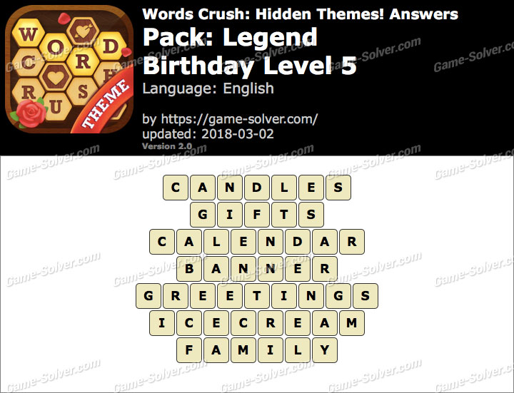 Words Crush Legend-Birthday Level 5 Answers