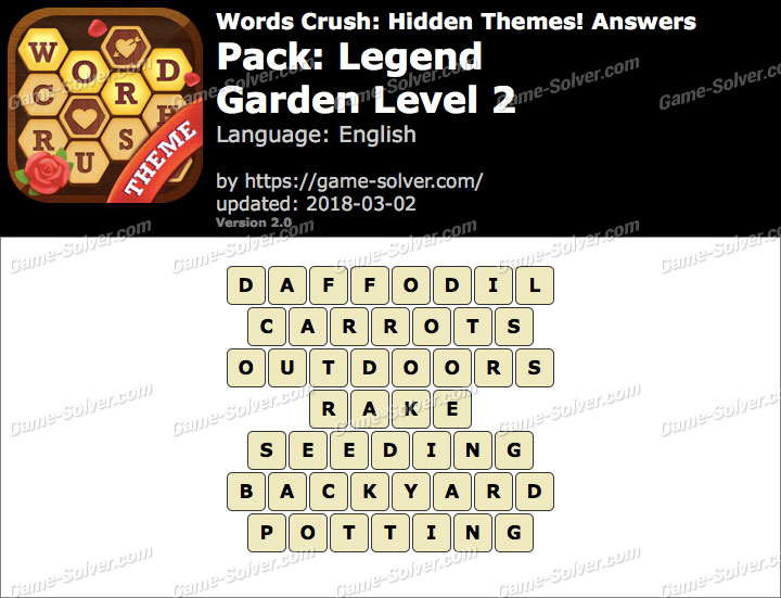 Words Crush Legend-Garden Level 2 Answers