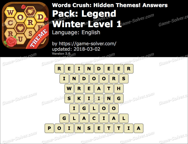 Words Crush Legend-Winter Level 1 Answers