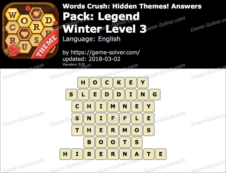 Words Crush Legend-Winter Level 3 Answers