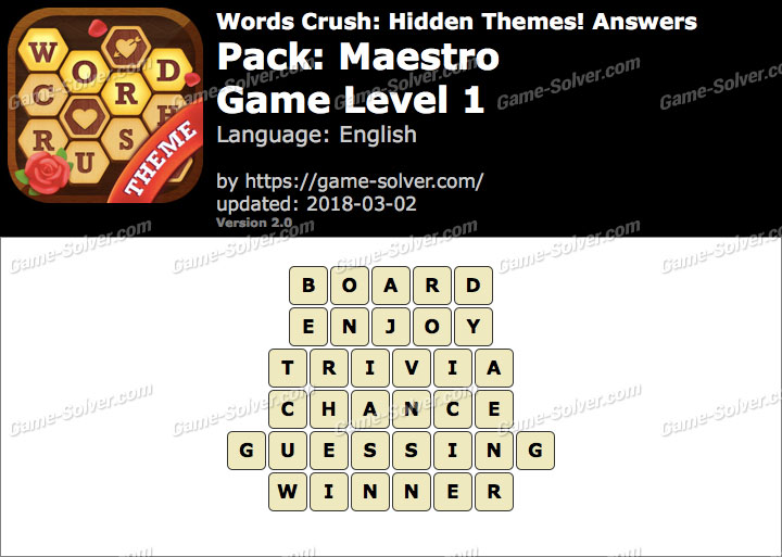Words Crush Maestro-Game Level 1 Answers
