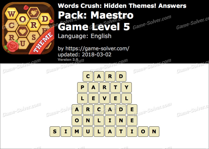 Words Crush Maestro-Game Level 5 Answers