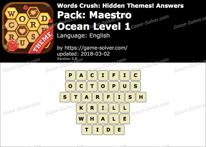 Words Crush Maestro-Ocean Level 1 Answers