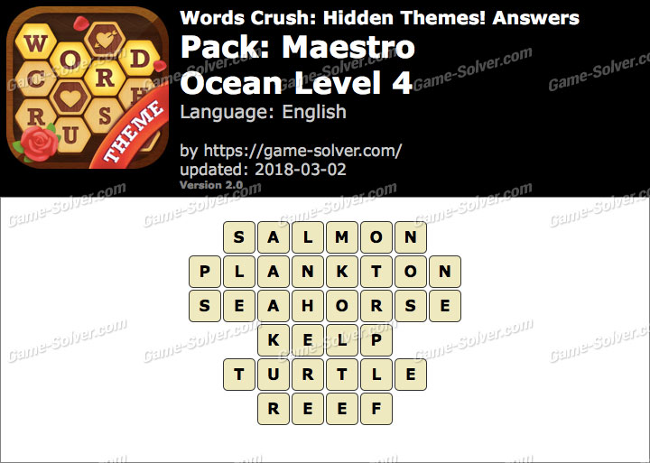 Words Crush Maestro-Ocean Level 4 Answers
