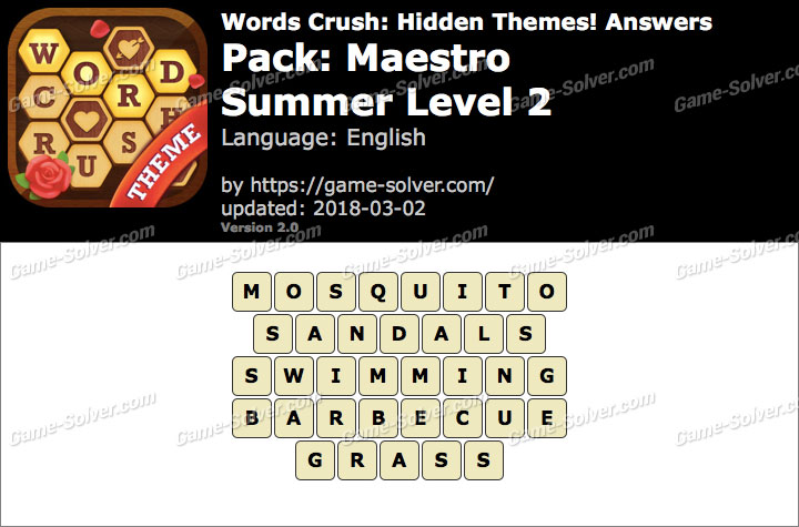 Words Crush Maestro-Summer Level 2 Answers