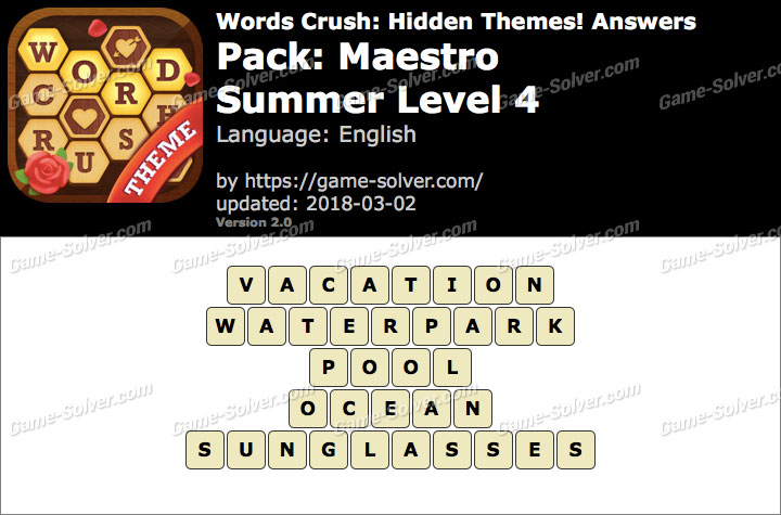 Words Crush Maestro-Summer Level 4 Answers