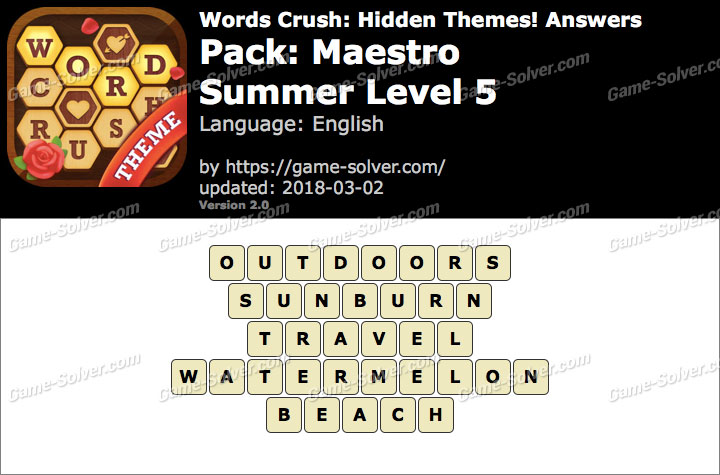 Words Crush Maestro-Summer Level 5 Answers