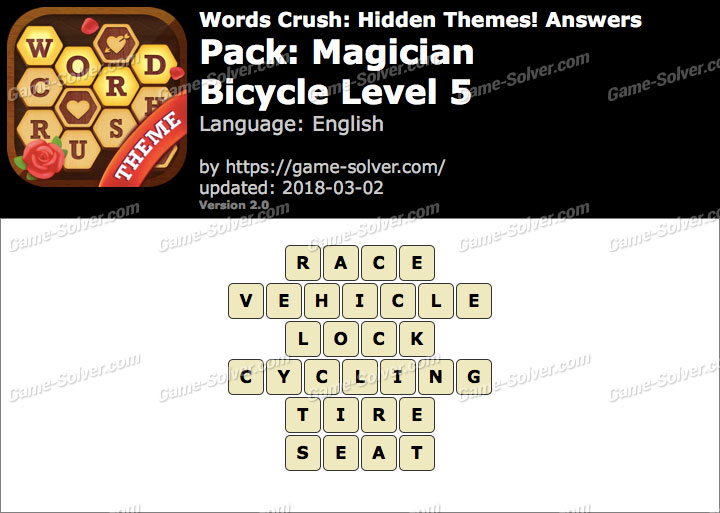 Words Crush Magician-Bicycle Level 5 Answers