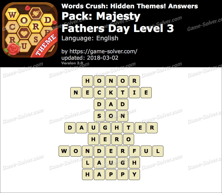 Words Crush Majesty-Fathers Day Level 3 Answers