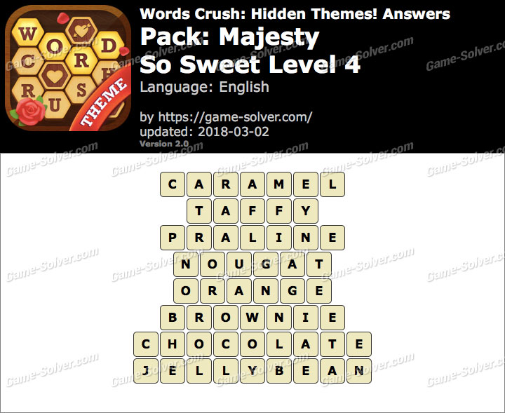 Words Crush Majesty-So Sweet Level 4 Answers