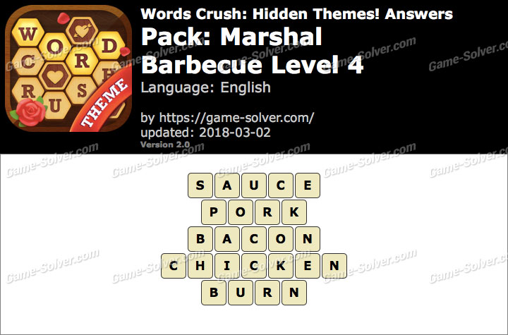 Words Crush Marshal-Barbecue Level 4 Answers