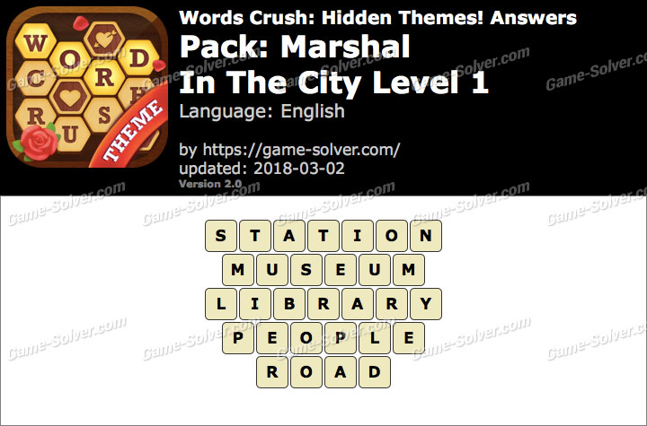 Words Crush Marshal-In The City Level 1 Answers