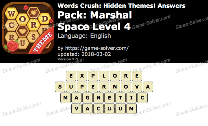 Words Crush Marshal-Space Level 4 Answers