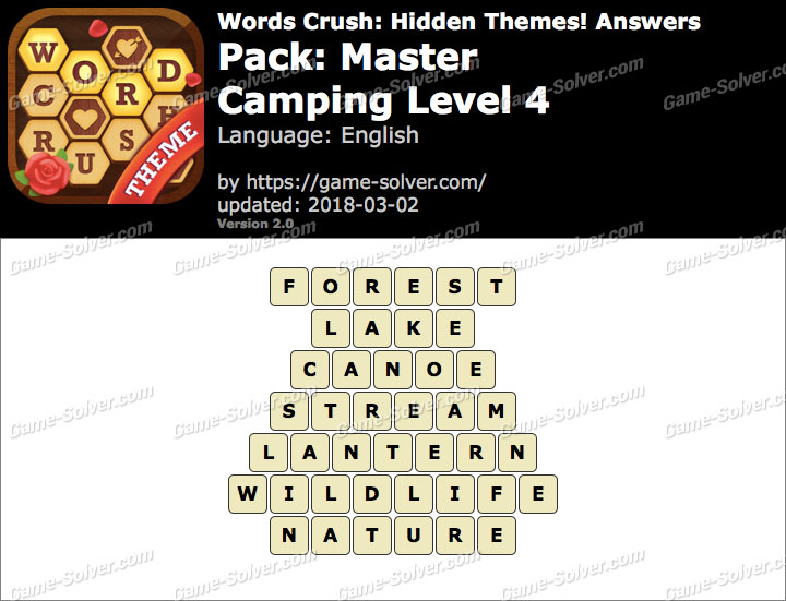 Words Crush Master-Camping Level 4 Answers