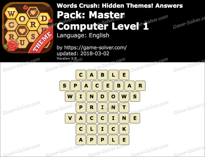 Words Crush Master-Computer Level 1 Answers