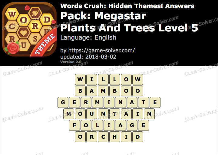 Words Crush Megastar-Plants And Trees Level 5 Answers