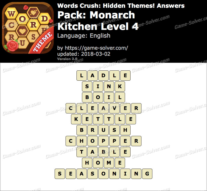 Words Crush Monarch-Kitchen Level 4 Answers