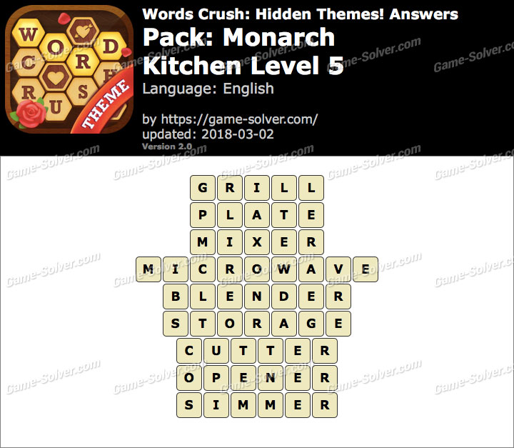 Words Crush Monarch-Kitchen Level 5 Answers