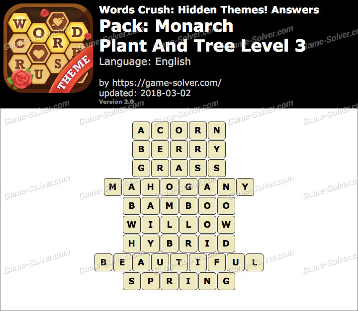 Words Crush Monarch-Plant And Tree Level 3 Answers