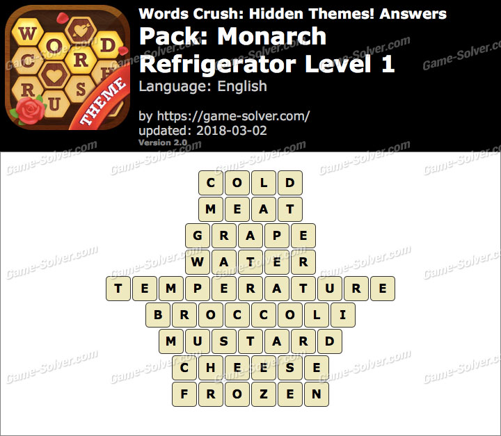 Words Crush Monarch-Refrigerator Level 1 Answers