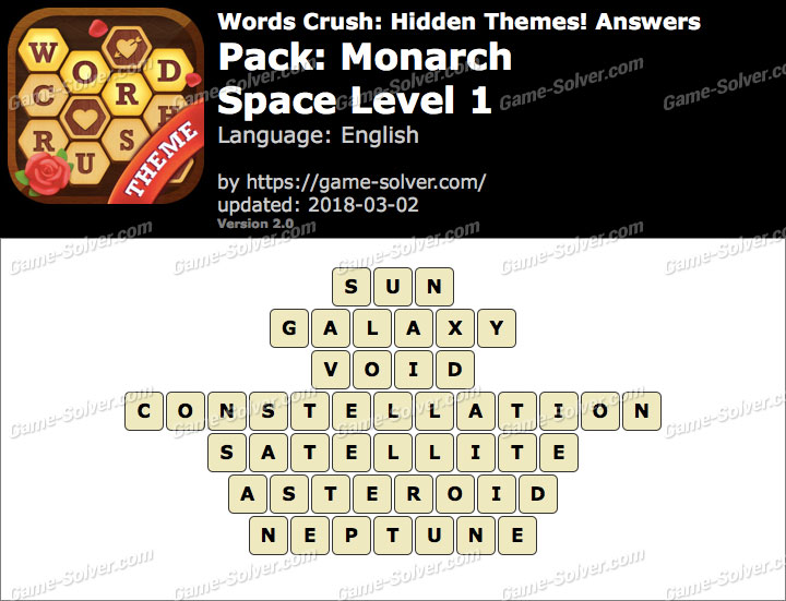 Words Crush Monarch-Space Level 1 Answers