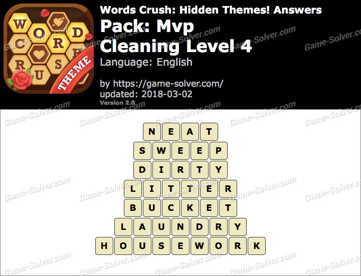 Words Crush Mvp-Cleaning Level 4 Answers
