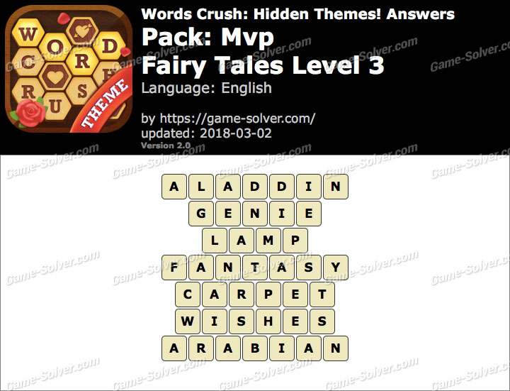 Words Crush Mvp-Fairy Tales Level 3 Answers