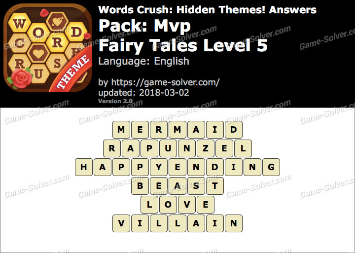 Words Crush Mvp-Fairy Tales Level 5 Answers